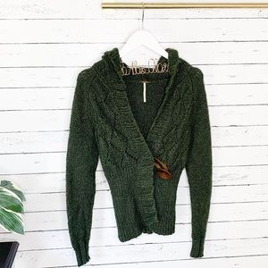 Free People Big Button Hoodie Knit Cardi Green